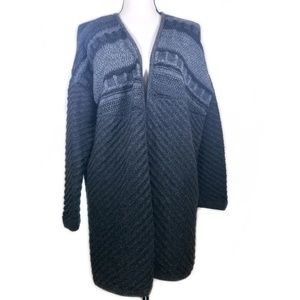 Garnet Hill Grey Baby Alpaca Open Knit Cardigan